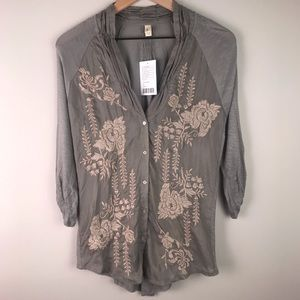 NWT Anthropologie TINY Embroidered silk top